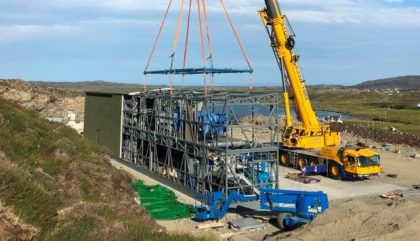 The Water Treatment Modular Units of the Lochmaddy WTW being re-assembled on site.