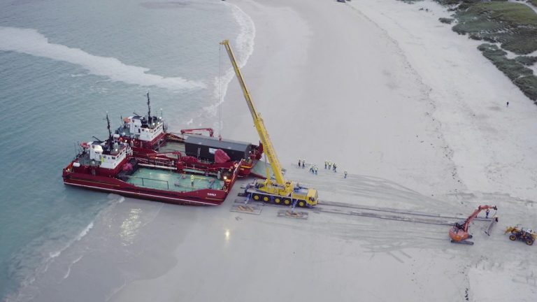 North Harris Wtw Unloaded By Crane On Beach 768x432